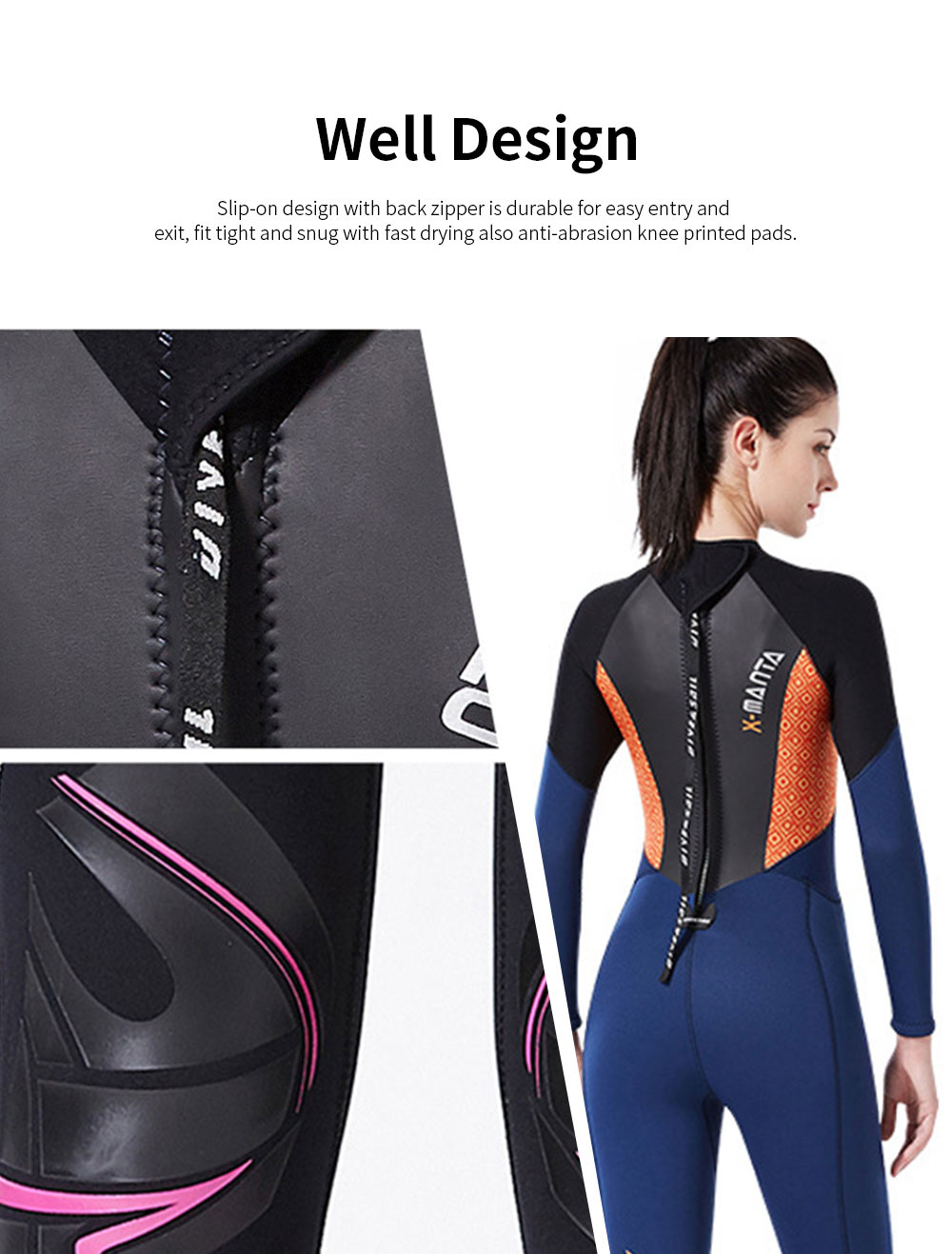 Women Full Body Wetsuits Premium 3mm Neoprene UV Protection Back Zip Diving Suits for Snorkeling Surfing Swimming Suit Jumpsuit 2