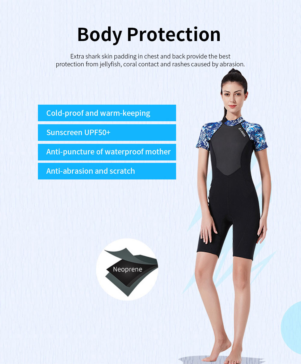 Women Short Wetsuits Premium 1.5mm Neoprene UV Protection Back Zip Diving Suits for Snorkeling Surfing Swimming 2