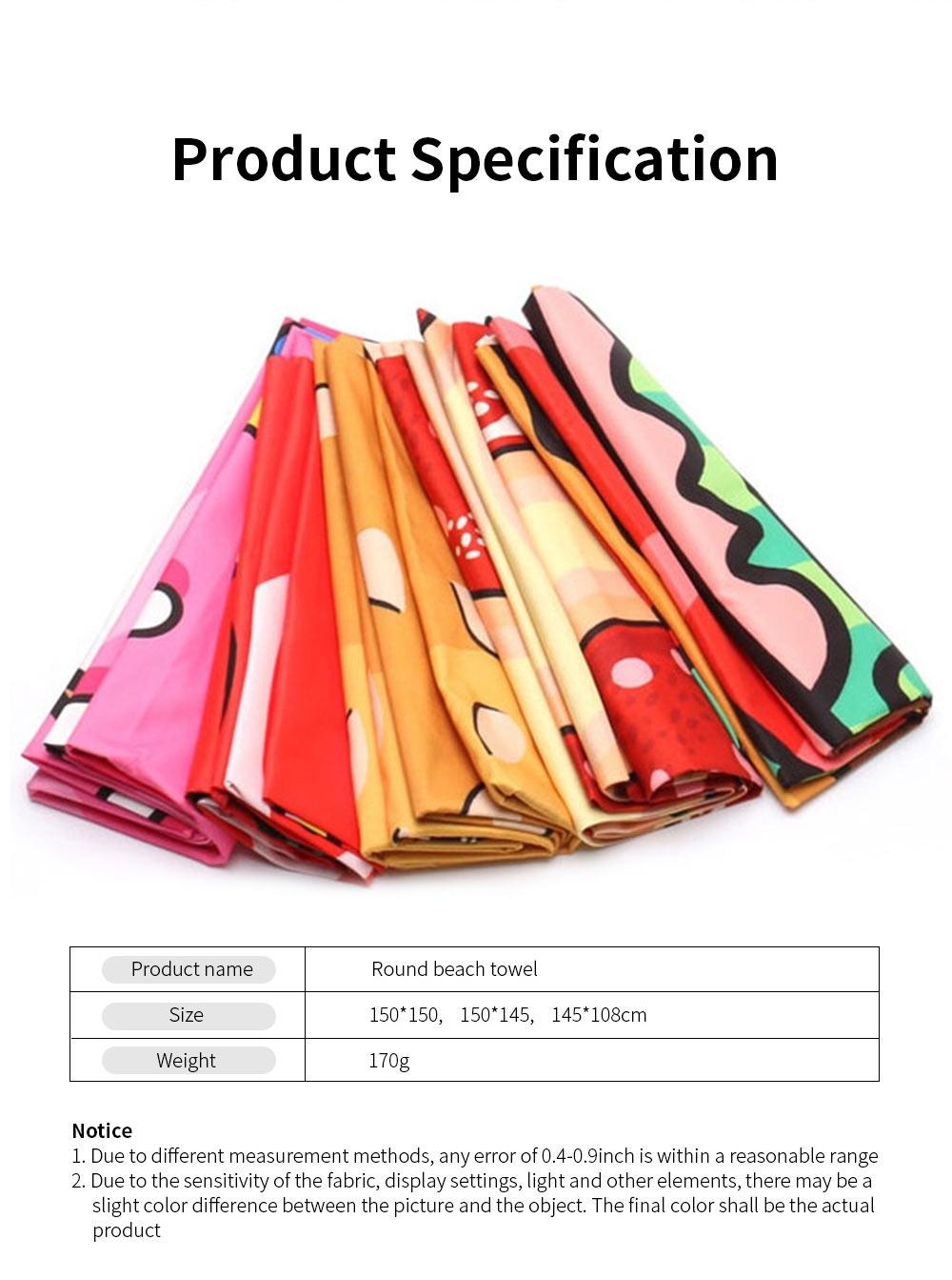 Round Beach Towel Microfiber Fabric Creative Pizza Shape Yoga Mat Tassels Circle Beach Blanket with 60 inch Diameter 6