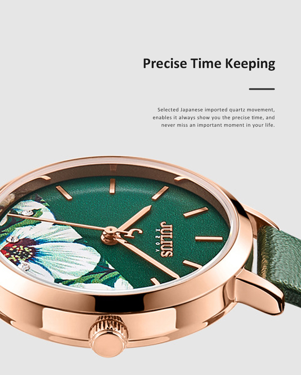 Julius Women Waterproof Watch 3D Flower Ancient Genuine Leather Band Japanese Quartz and Crystal-accented Dial Wrist Watch 2