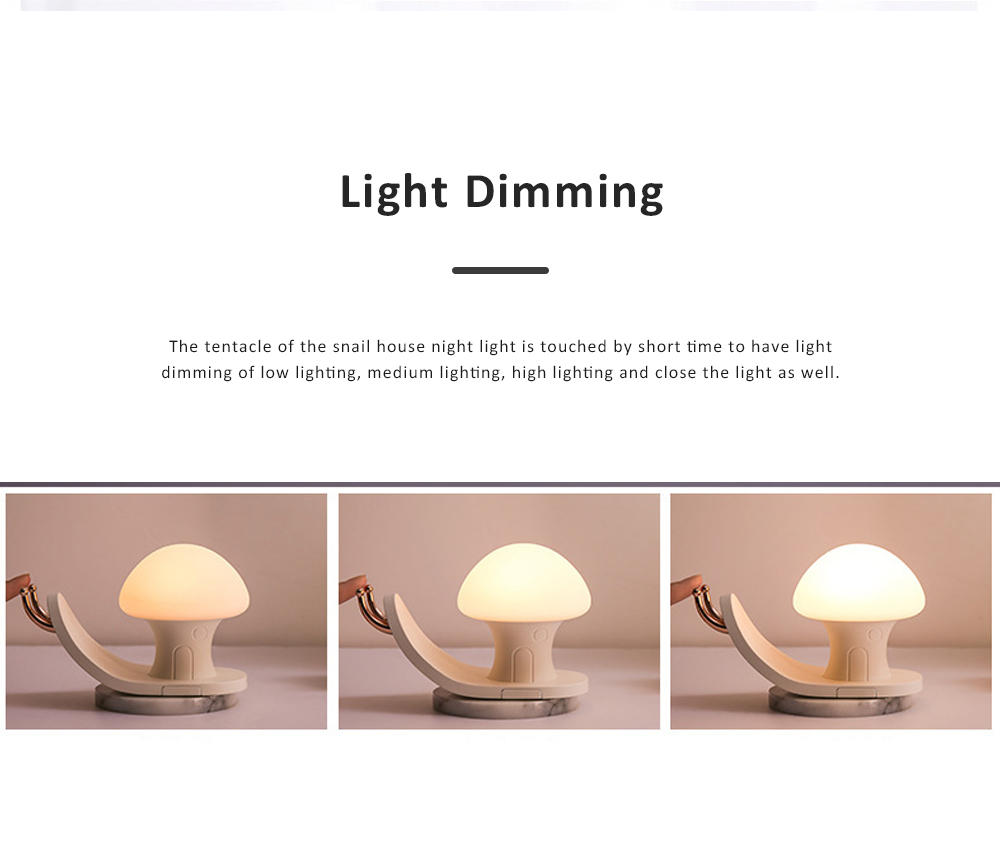 Snail House Night Light Silicone USB Rechargeable Night Lights Multifunctional Phone Holder  Stand Colorful Bedside Ambient Lamp 4
