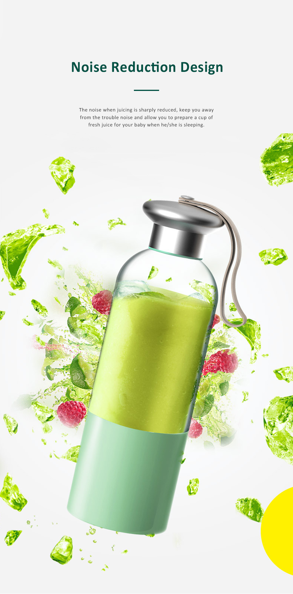 Portable Blender Rechargeable Travel Juicer Cup for Superb Mixing with Six Upgraded Blades 380ml 2000mAh Dual Use Smoothie Juice Cup 7