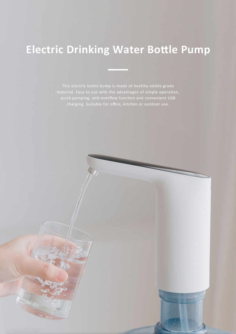 Electric Bottle Pump USB Charging Water Bottle Dispenser with Pollution-free Design for Home Office or Outdoor 0