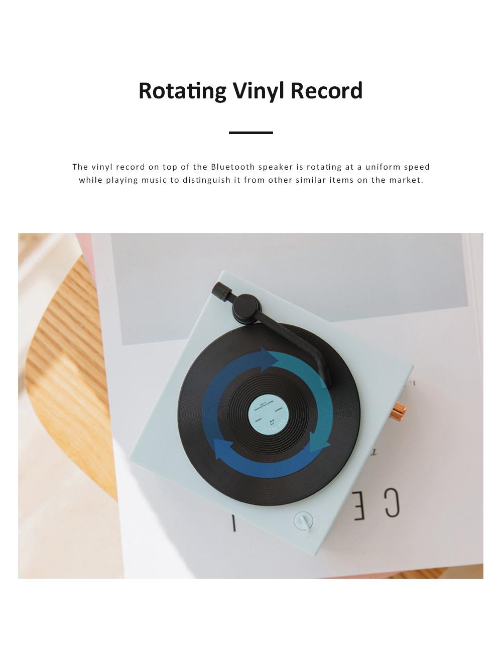Retro Vinyl Record Bluetooth Speaker Wireless Mini Subwoofer Portable Loudspeaker Box USB Rechargeable Baffle Box Nice Christmas Birthday Present 3