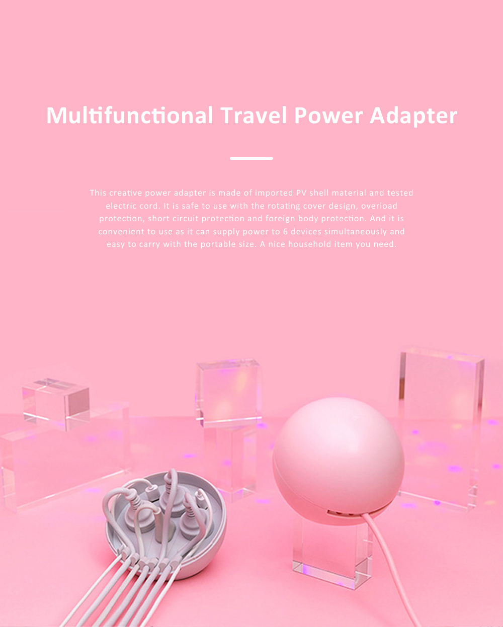 Lollipop Smart Cord Extension Set with Power Adapter 4 Sockets 2 USB Ports Multifunctional Travel Charger Travel Socket 0