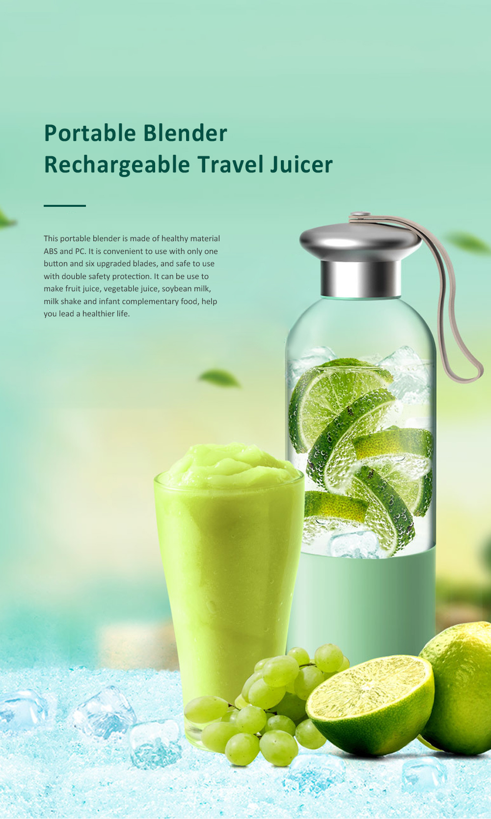 Portable Blender Rechargeable Travel Juicer Cup for Superb Mixing with Six Upgraded Blades 380ml 2000mAh Dual Use Smoothie Juice Cup 0