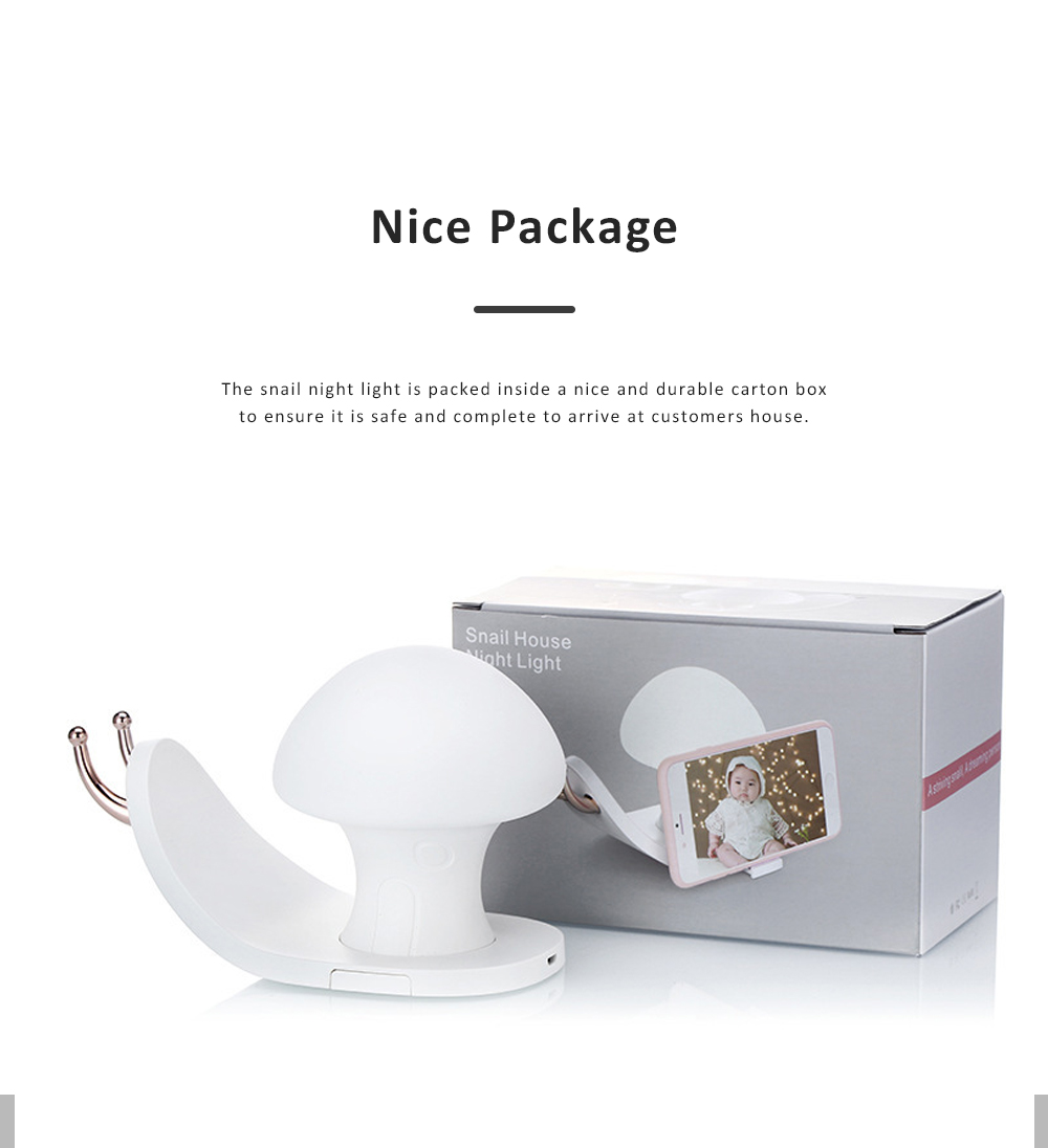 Snail House Night Light Silicone USB Rechargeable Night Lights Multifunctional Phone Holder  Stand Colorful Bedside Ambient Lamp 11