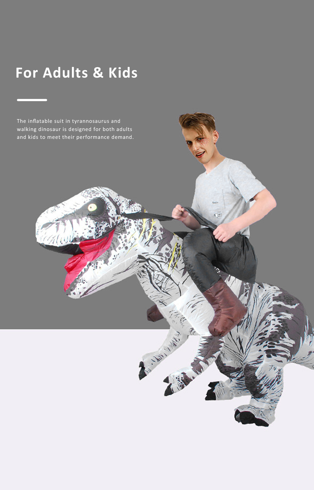 Tyrannosaurus Inflatable Suit for Halloween's Day Performance Waterproof Durable Walking Dinosaur Inflated Pressure Dress Inflatable Costume 4