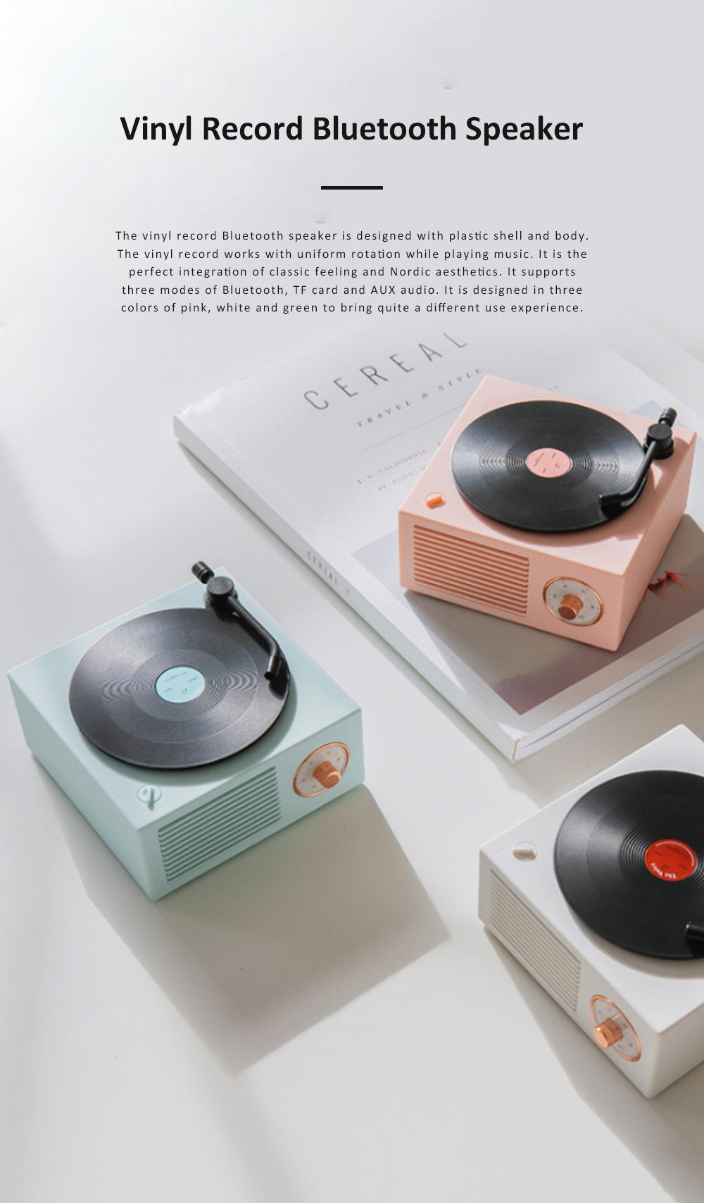 Retro Vinyl Record Bluetooth Speaker Wireless Mini Subwoofer Portable Loudspeaker Box USB Rechargeable Baffle Box Nice Christmas Birthday Present 0