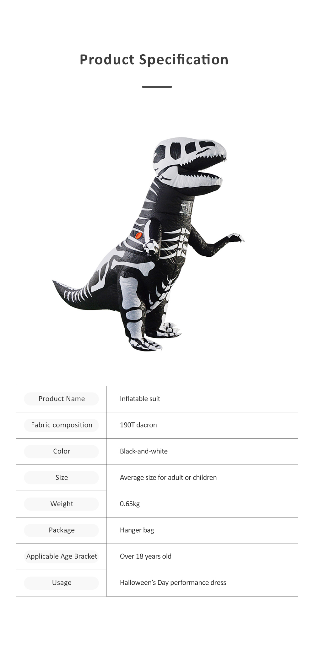 Tyrannosaurus Inflatable Suit for Halloween's Day Performance Waterproof Durable Walking Dinosaur Inflated Pressure Dress Inflatable Costume 6