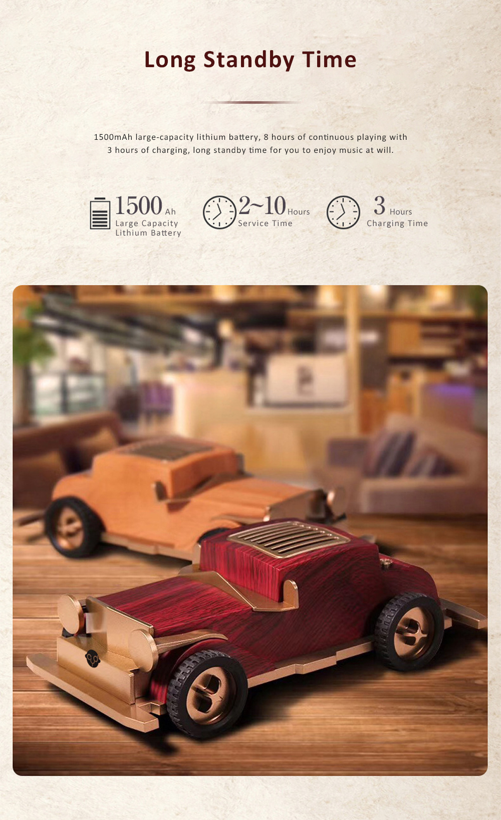 Retro Car-shaped Bluetooth Speaker with FM Radio Built-in Microphone Support Hands Free Phone Calls 5