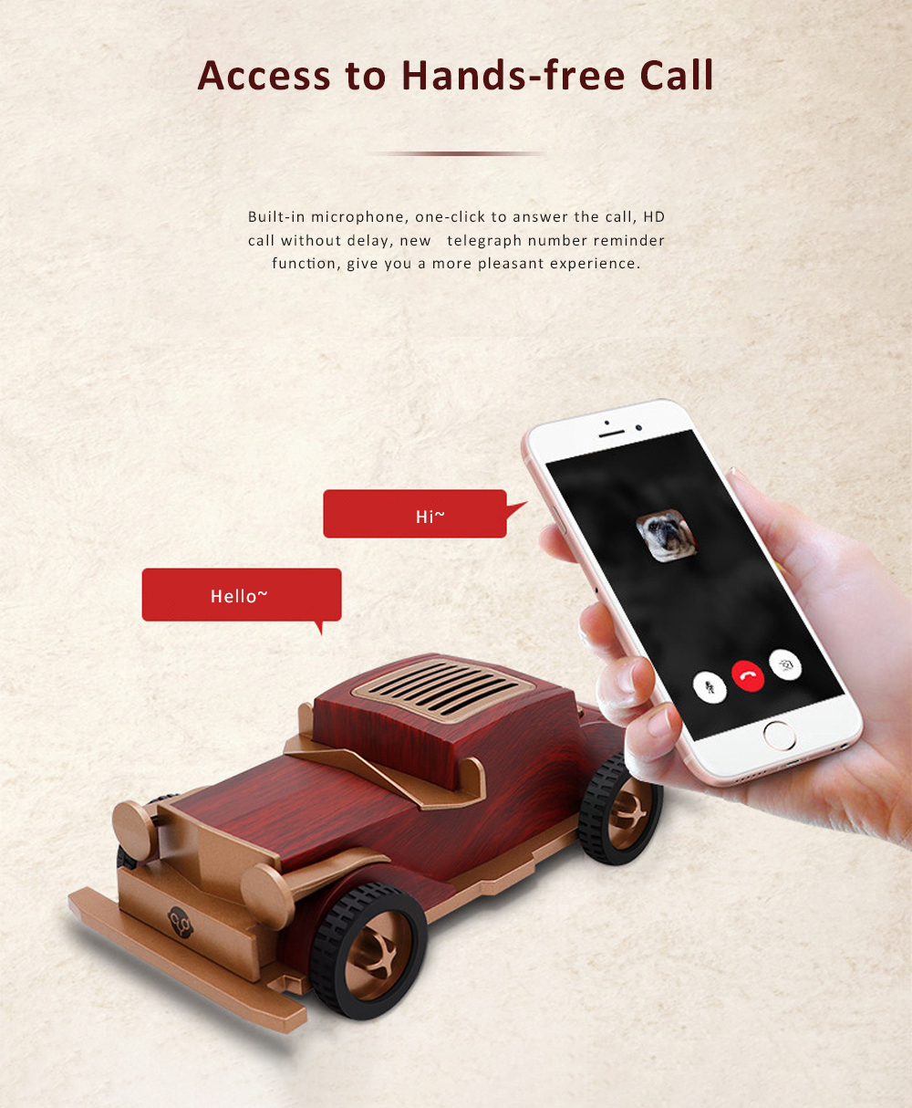 Retro Car-shaped Bluetooth Speaker with FM Radio Built-in Microphone Support Hands Free Phone Calls 8