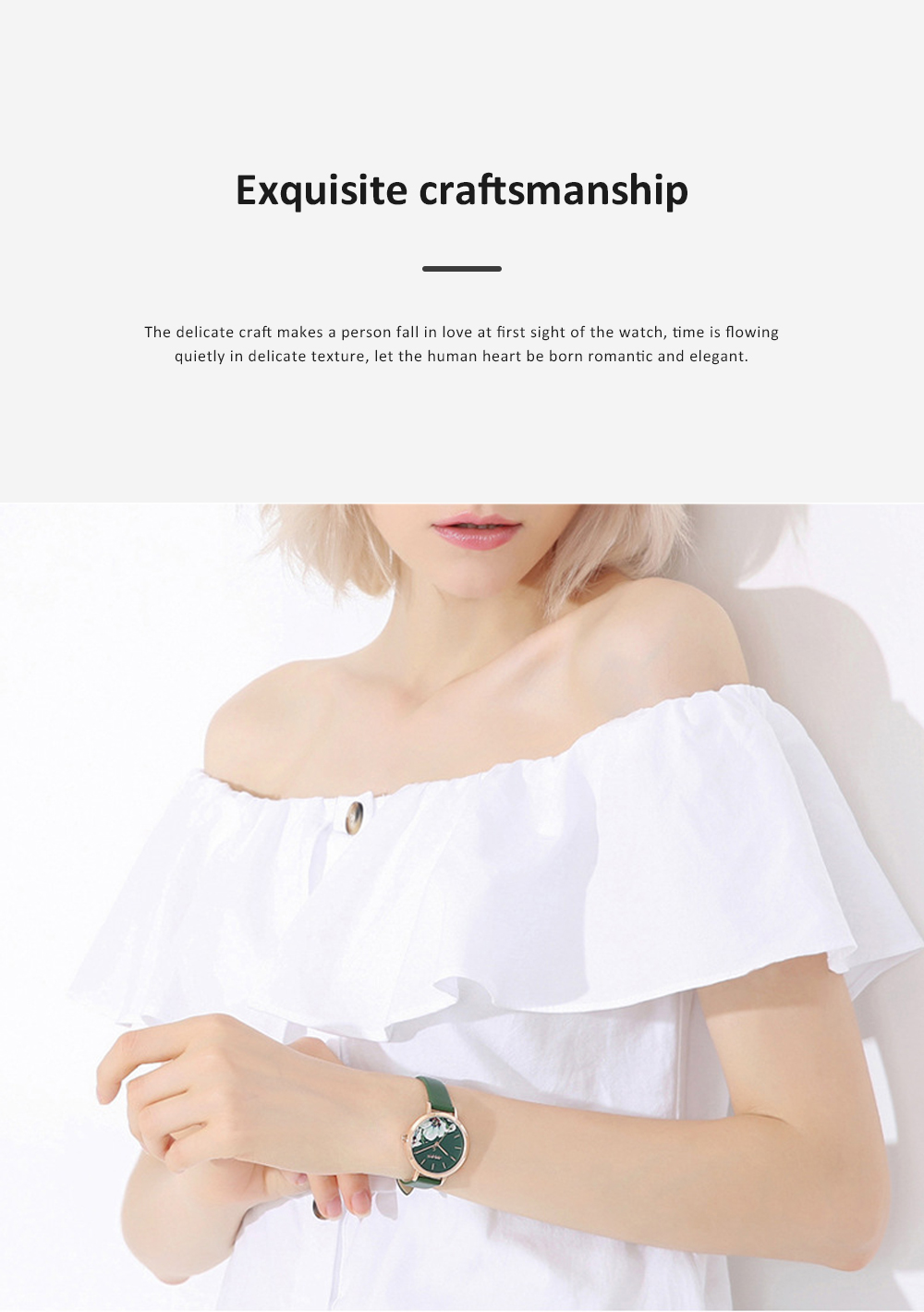 Julius Women Waterproof Watch 3D Flower Ancient Genuine Leather Band Japanese Quartz and Crystal-accented Dial Wrist Watch 4