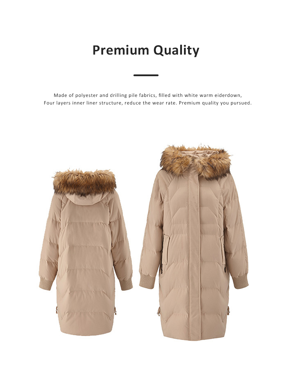 Women's Hooded Down Jacket Slim Long with Fur Hood Collar Lightweight Warm Coat for Winter Outdoor 1