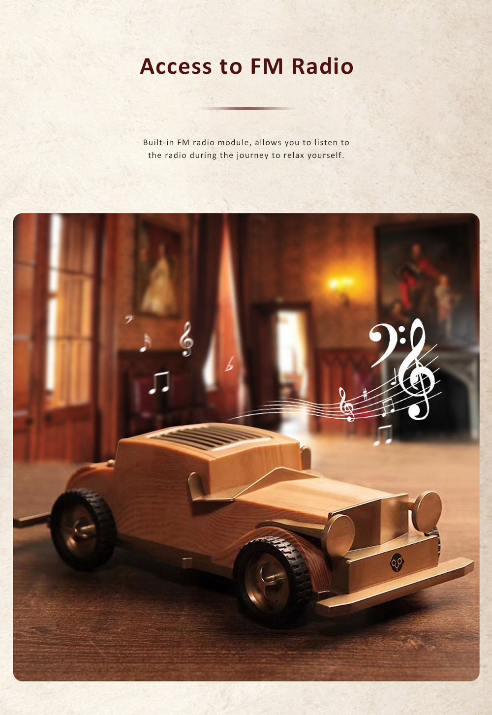 Retro Car-shaped Bluetooth Speaker with FM Radio Built-in Microphone Support Hands Free Phone Calls 4