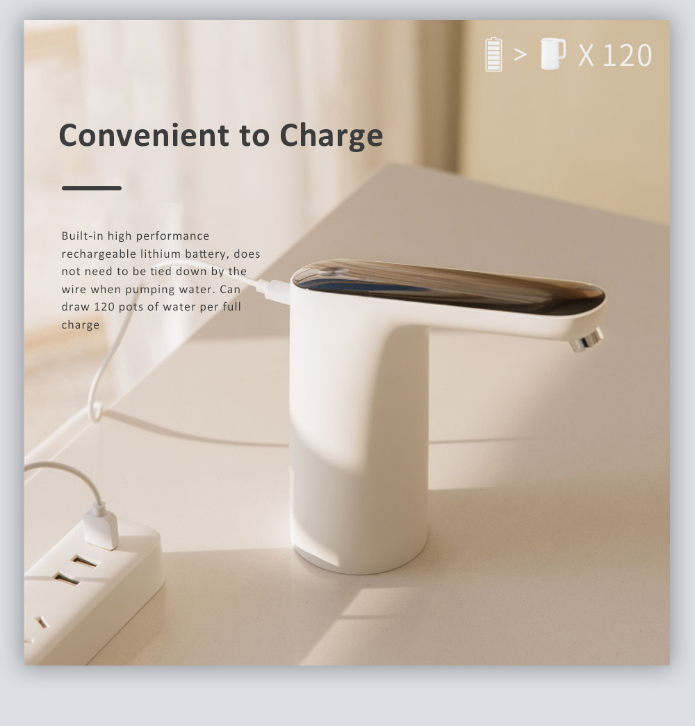 Electric Bottle Pump USB Charging Water Bottle Dispenser with Pollution-free Design for Home Office or Outdoor 7