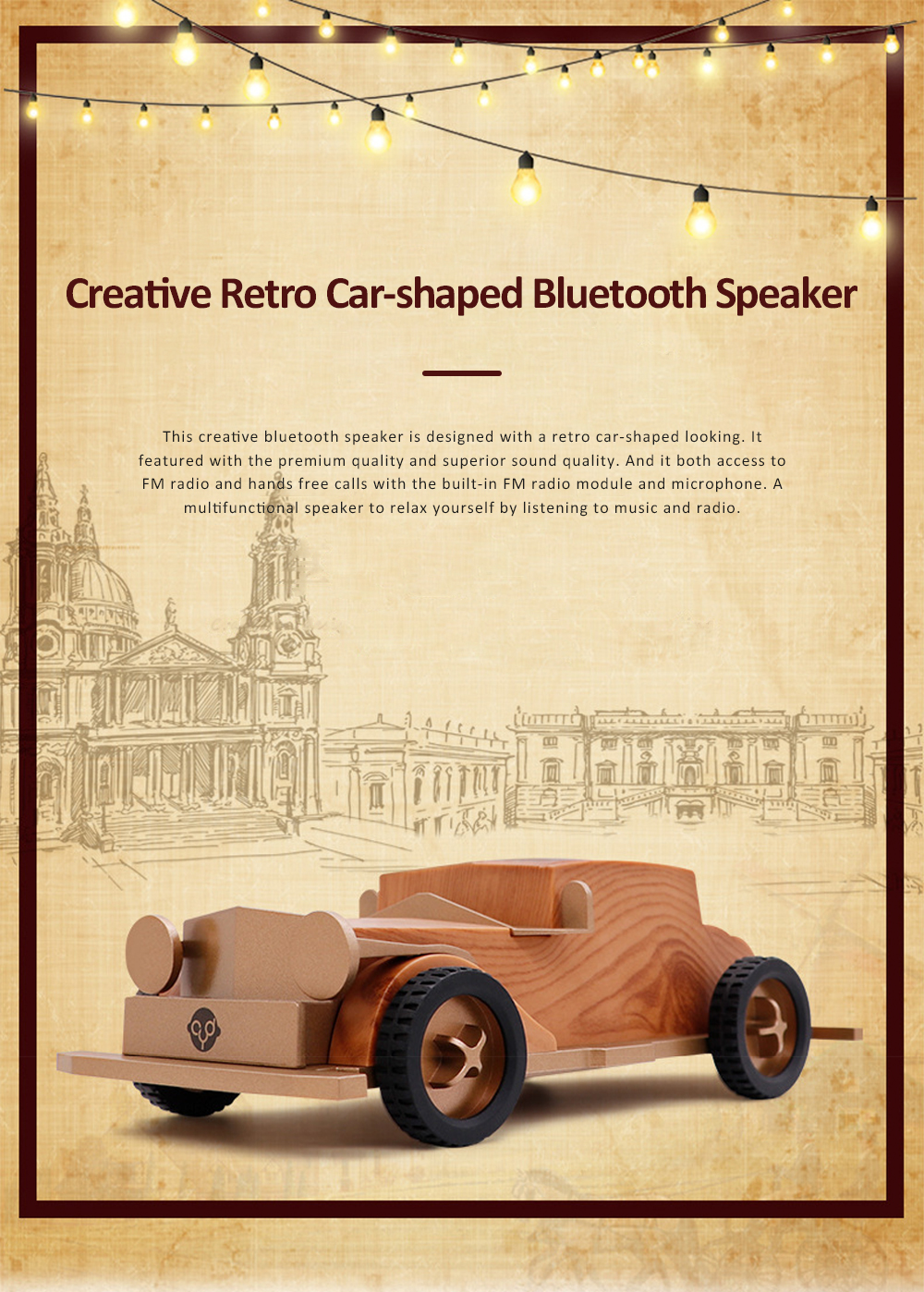 Retro Car-shaped Bluetooth Speaker with FM Radio Built-in Microphone Support Hands Free Phone Calls 0