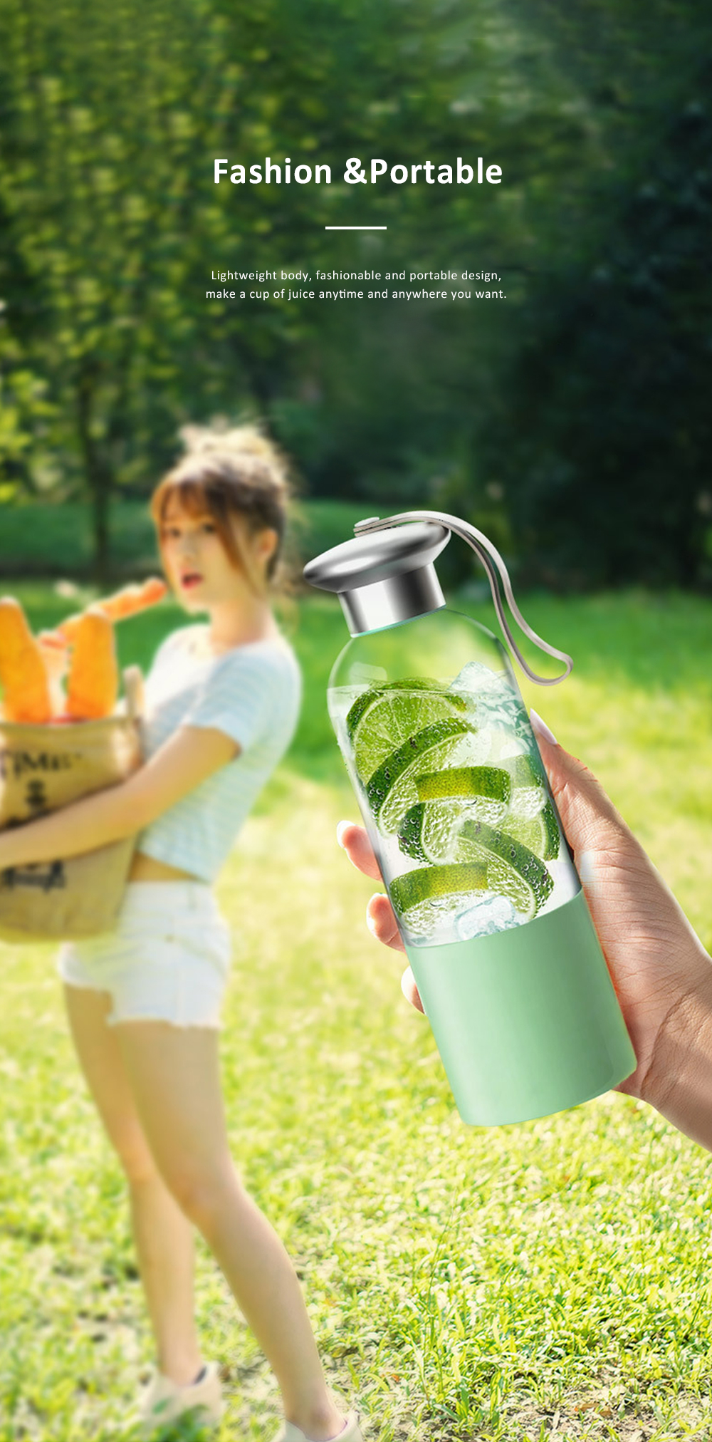 Portable Blender Rechargeable Travel Juicer Cup for Superb Mixing with Six Upgraded Blades 380ml 2000mAh Dual Use Smoothie Juice Cup 6