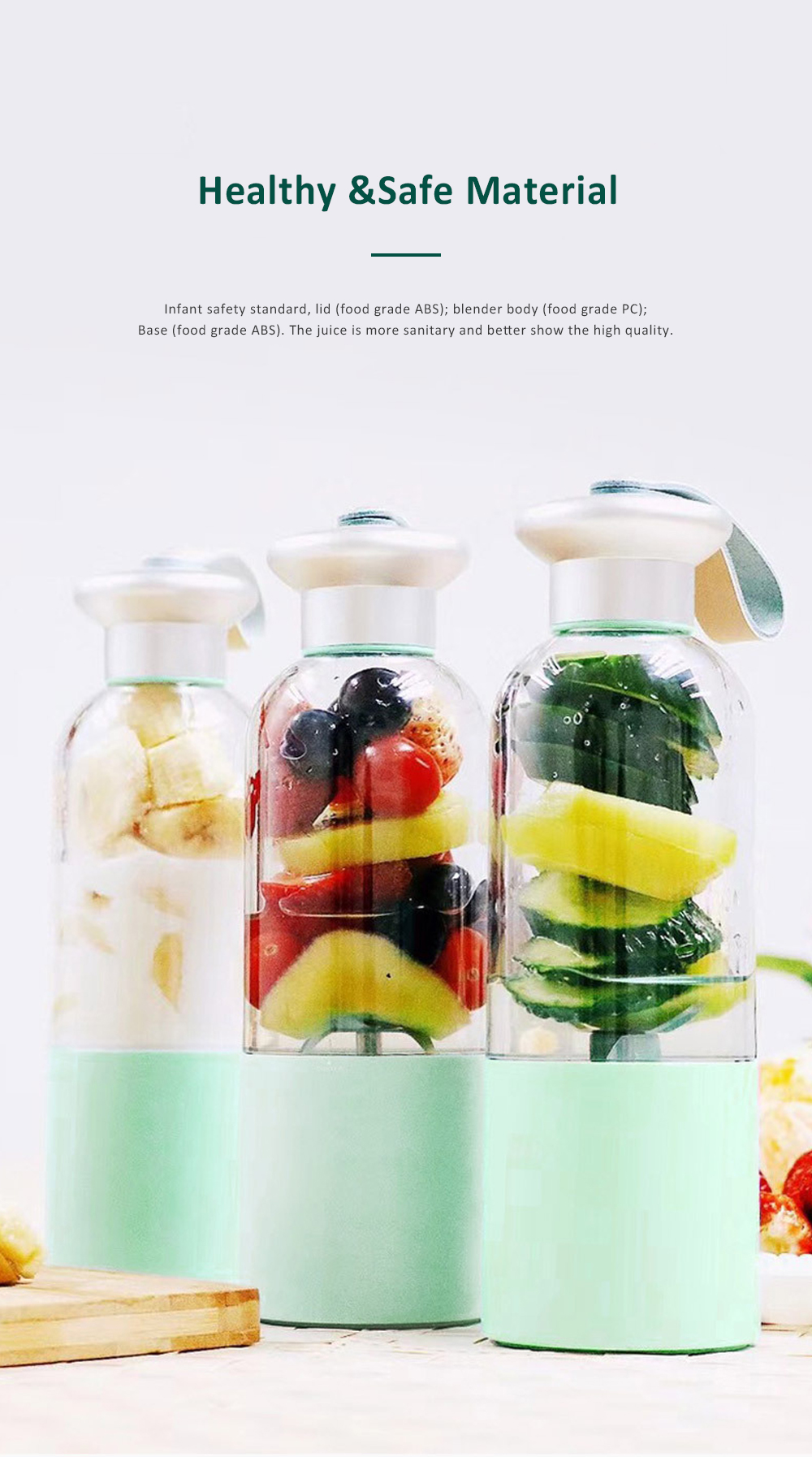 Portable Blender Rechargeable Travel Juicer Cup for Superb Mixing with Six Upgraded Blades 380ml 2000mAh Dual Use Smoothie Juice Cup 2