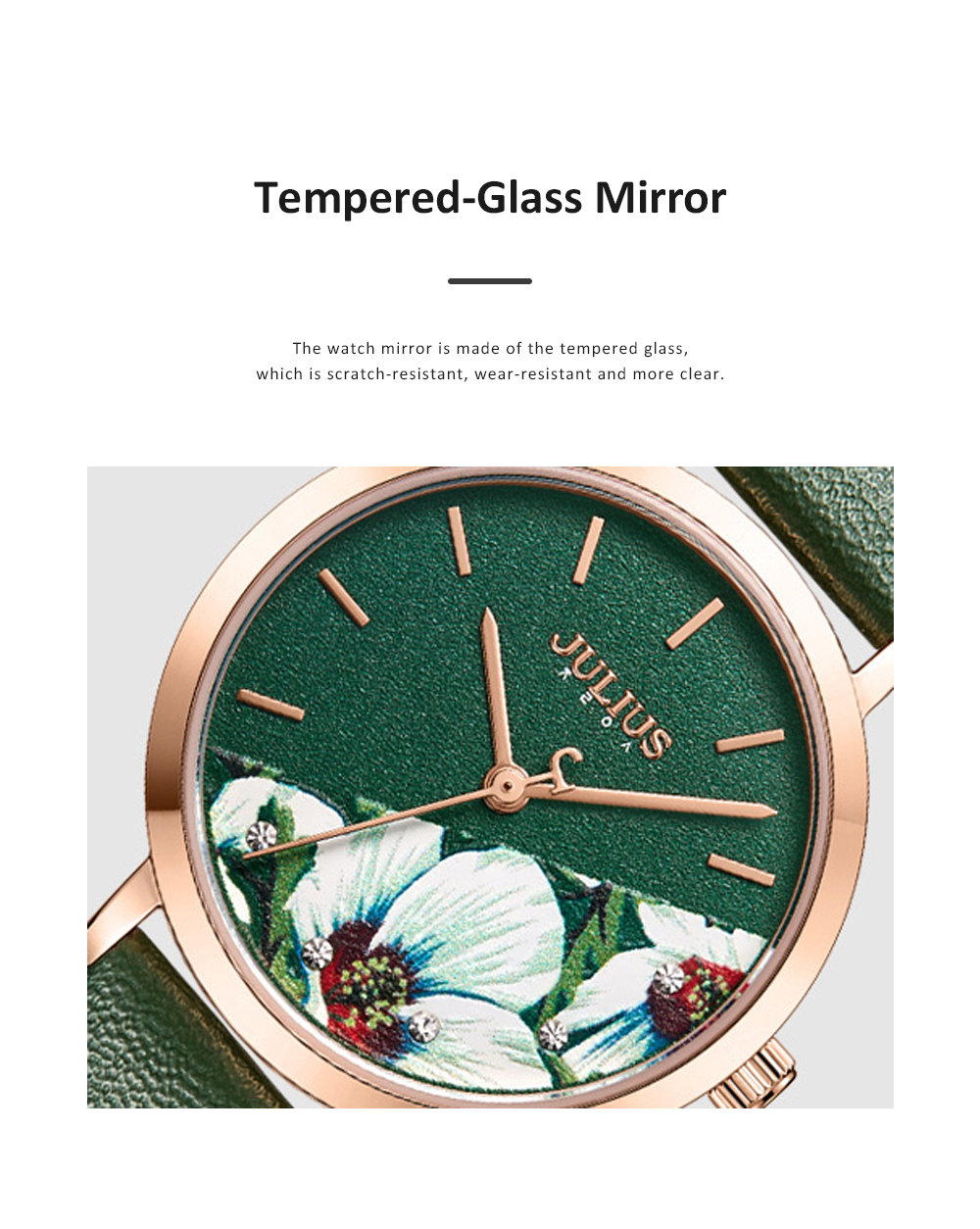 Julius Women Waterproof Watch 3D Flower Ancient Genuine Leather Band Japanese Quartz and Crystal-accented Dial Wrist Watch 5