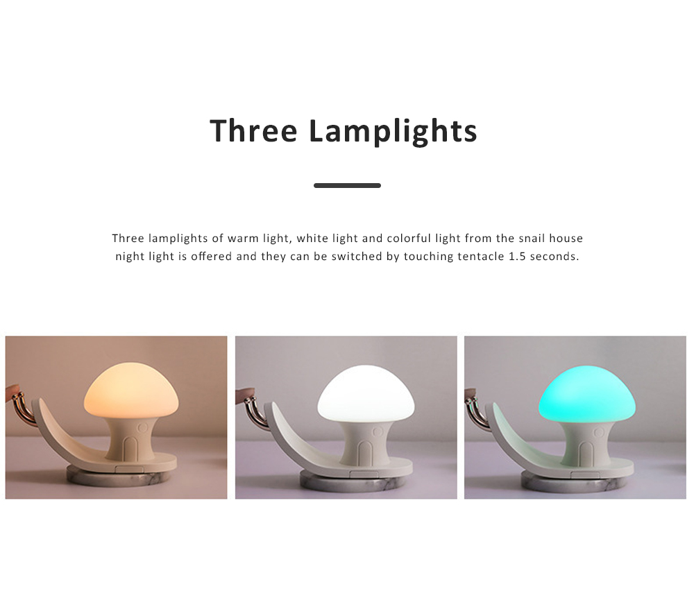 Snail House Night Light Silicone USB Rechargeable Night Lights Multifunctional Phone Holder  Stand Colorful Bedside Ambient Lamp 2