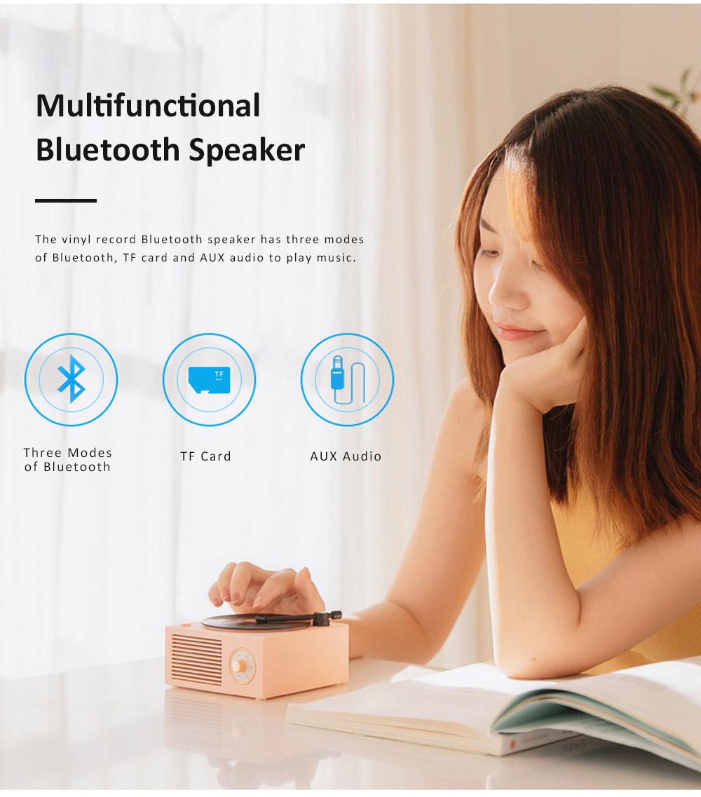 Retro Vinyl Record Bluetooth Speaker Wireless Mini Subwoofer Portable Loudspeaker Box USB Rechargeable Baffle Box Nice Christmas Birthday Present 2