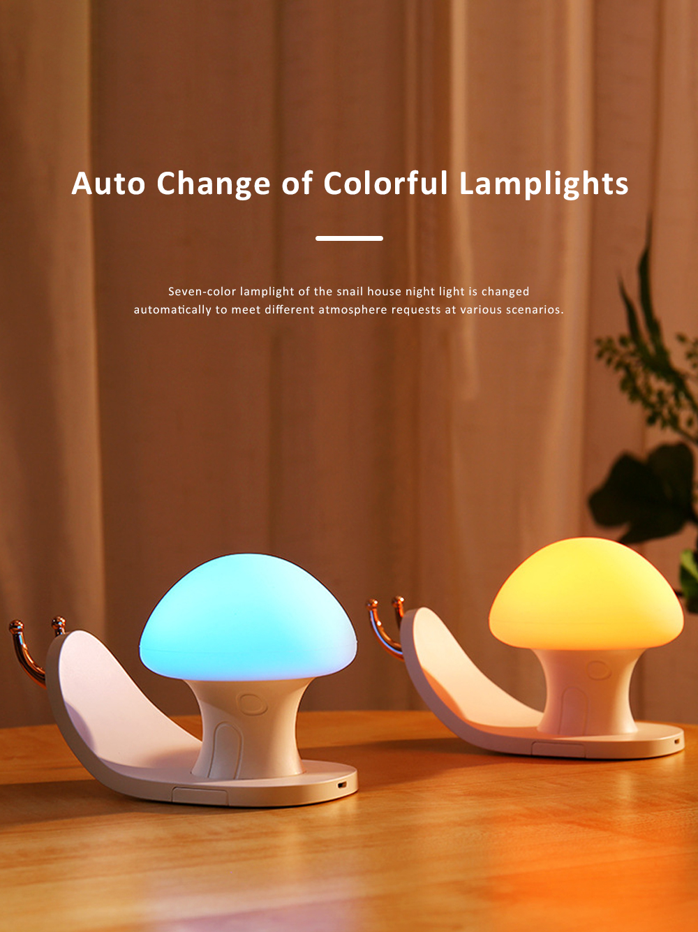 Snail House Night Light Silicone USB Rechargeable Night Lights Multifunctional Phone Holder  Stand Colorful Bedside Ambient Lamp 5