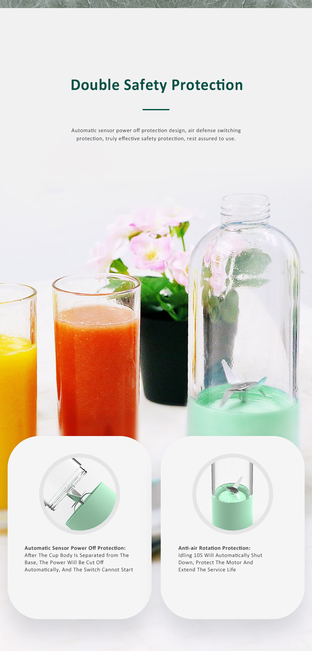 Portable Blender Rechargeable Travel Juicer Cup for Superb Mixing with Six Upgraded Blades 380ml 2000mAh Dual Use Smoothie Juice Cup 5