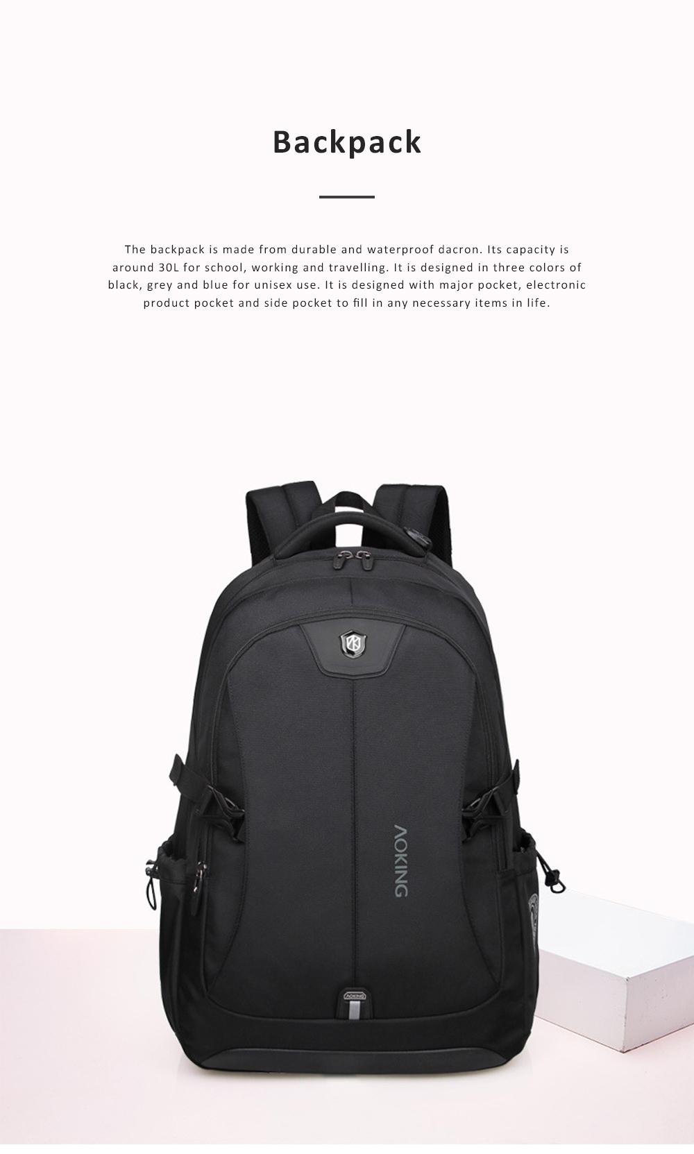 30L Large Capacity Men's Backpack for Outdoors Travelling Business Trip Waterproof Computer Bag Durable Shoulders Bag 0