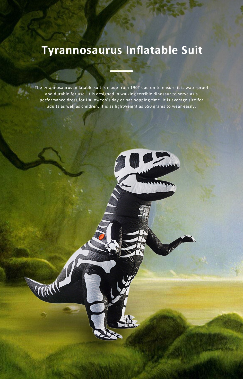 Tyrannosaurus Inflatable Suit for Halloween's Day Performance Waterproof Durable Walking Dinosaur Inflated Pressure Dress Inflatable Costume 0
