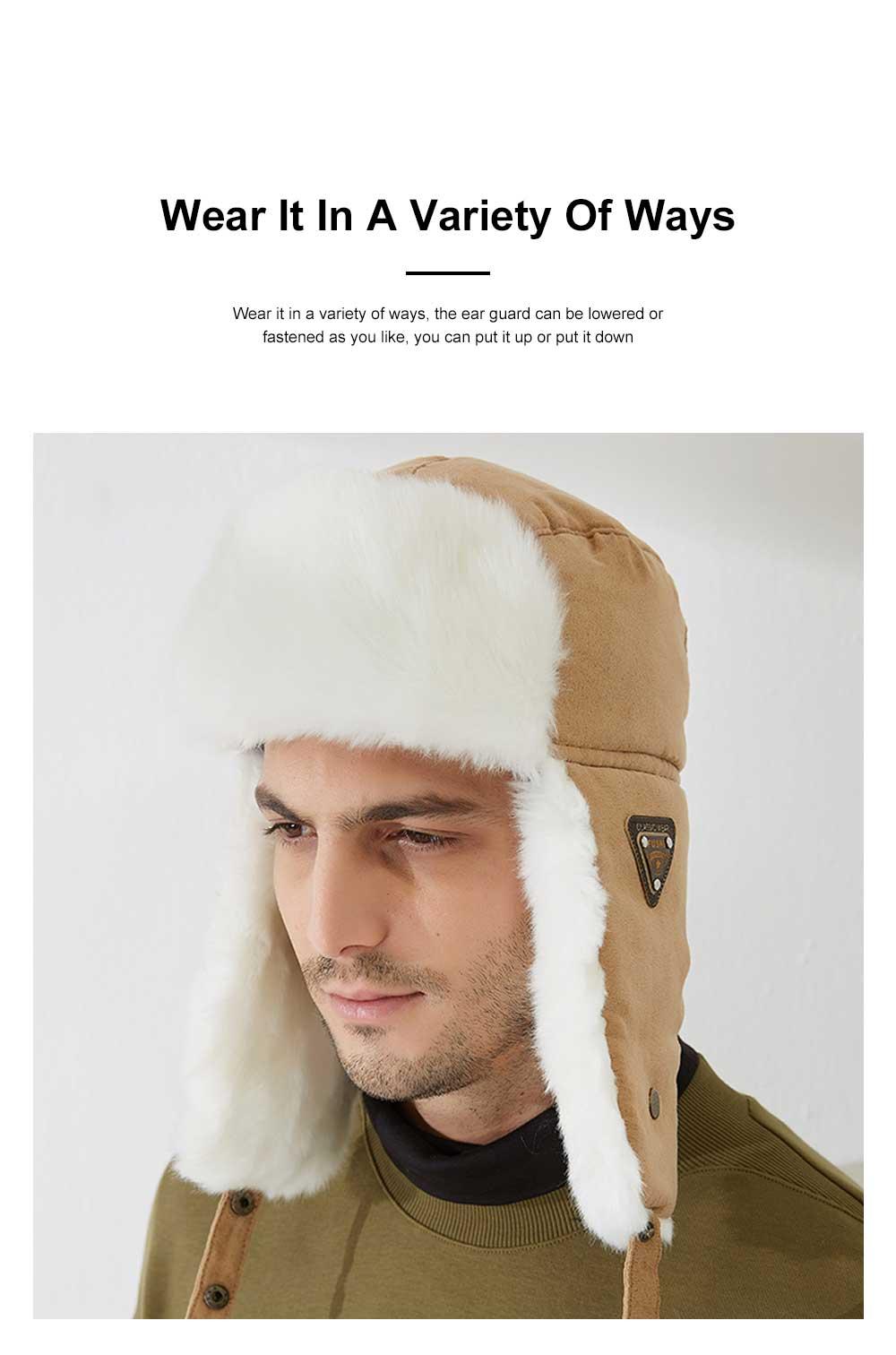Winter Snow Hat Old Men Thickening Plus Velvet Warm Cap Plush Animal Cap Russian Style Faux Fur Hat With Ear Flaps Ski Earmuffs 1