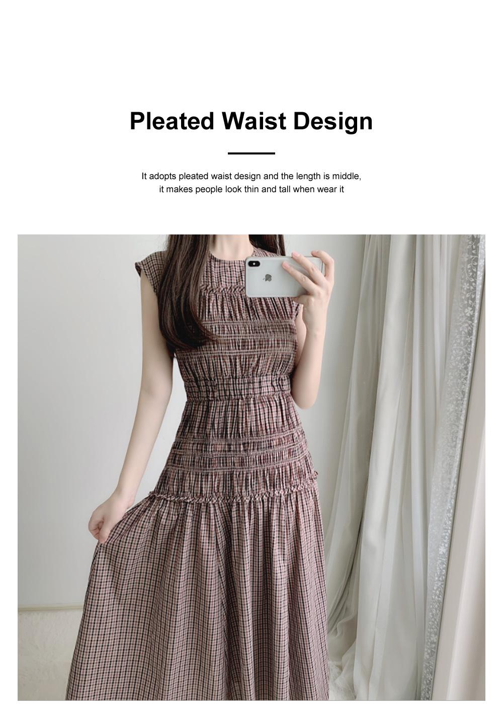 Female Vintage Dress Summer New Sleeveless Round Neck Plaid Women Elegant Thin Pleated Waist Casual Dress 1