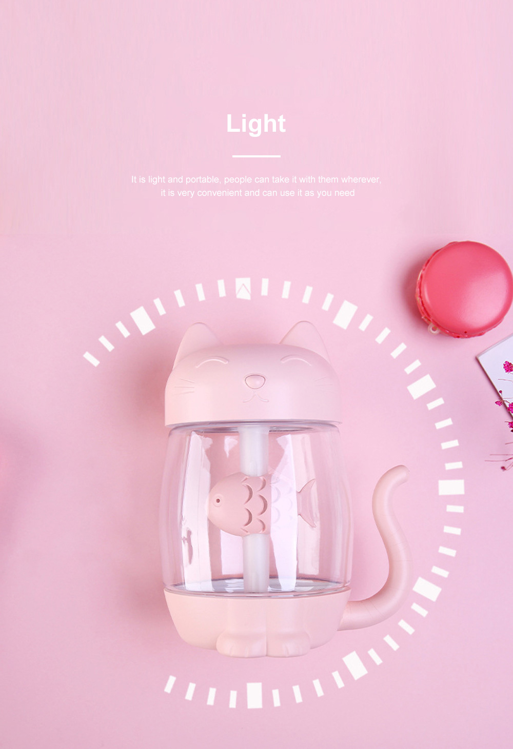 Lovely Cat Humidifier Portable Charging Creative Office Humidifier Three In One Usb Fan Desktop Atomizer Led Light Dry Protection 4