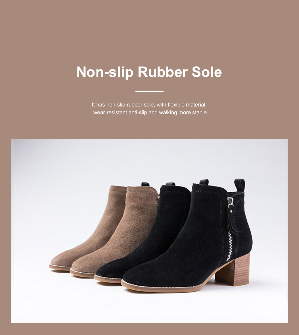 New Simple Fashion Retro Booties Zipper Square Head Thick Women's Boots 3