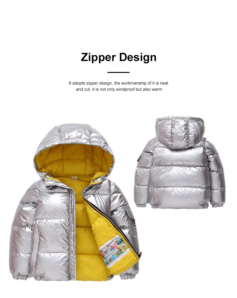 Glossy Silver Children's Down Coat Thickened Cotton Men & Women Children's Clothing Baby Down Cotton Space Bread Clothing 2019 3