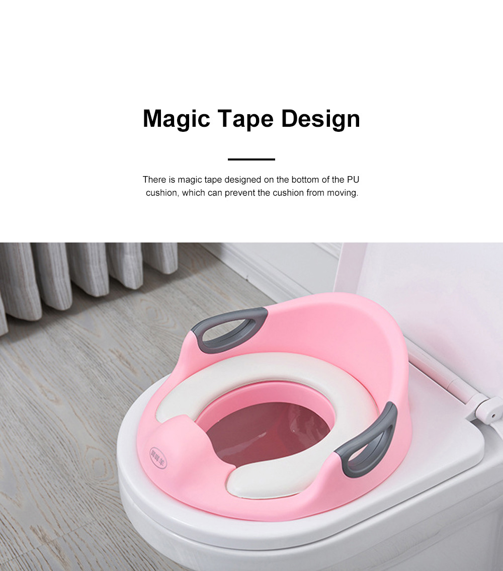 Easy Operation Safety Firm Children Toilet Seat with Hand Grip Soft PU Anti-splash Toilet Training Cushion for Kids 7
