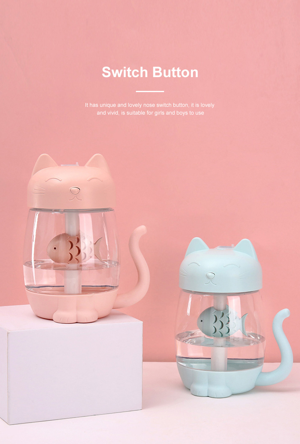 Lovely Cat Humidifier Portable Charging Creative Office Humidifier Three In One Usb Fan Desktop Atomizer Led Light Dry Protection 1