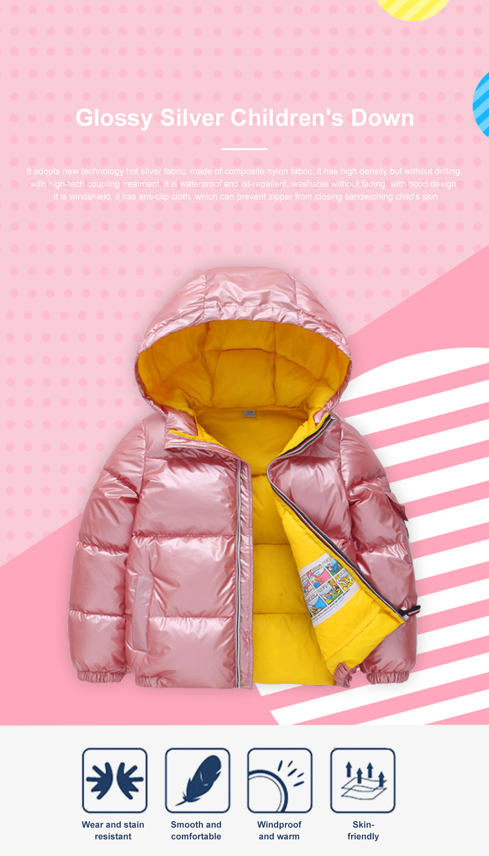 Glossy Silver Children's Down Coat Thickened Cotton Men & Women Children's Clothing Baby Down Cotton Space Bread Clothing 2019 0