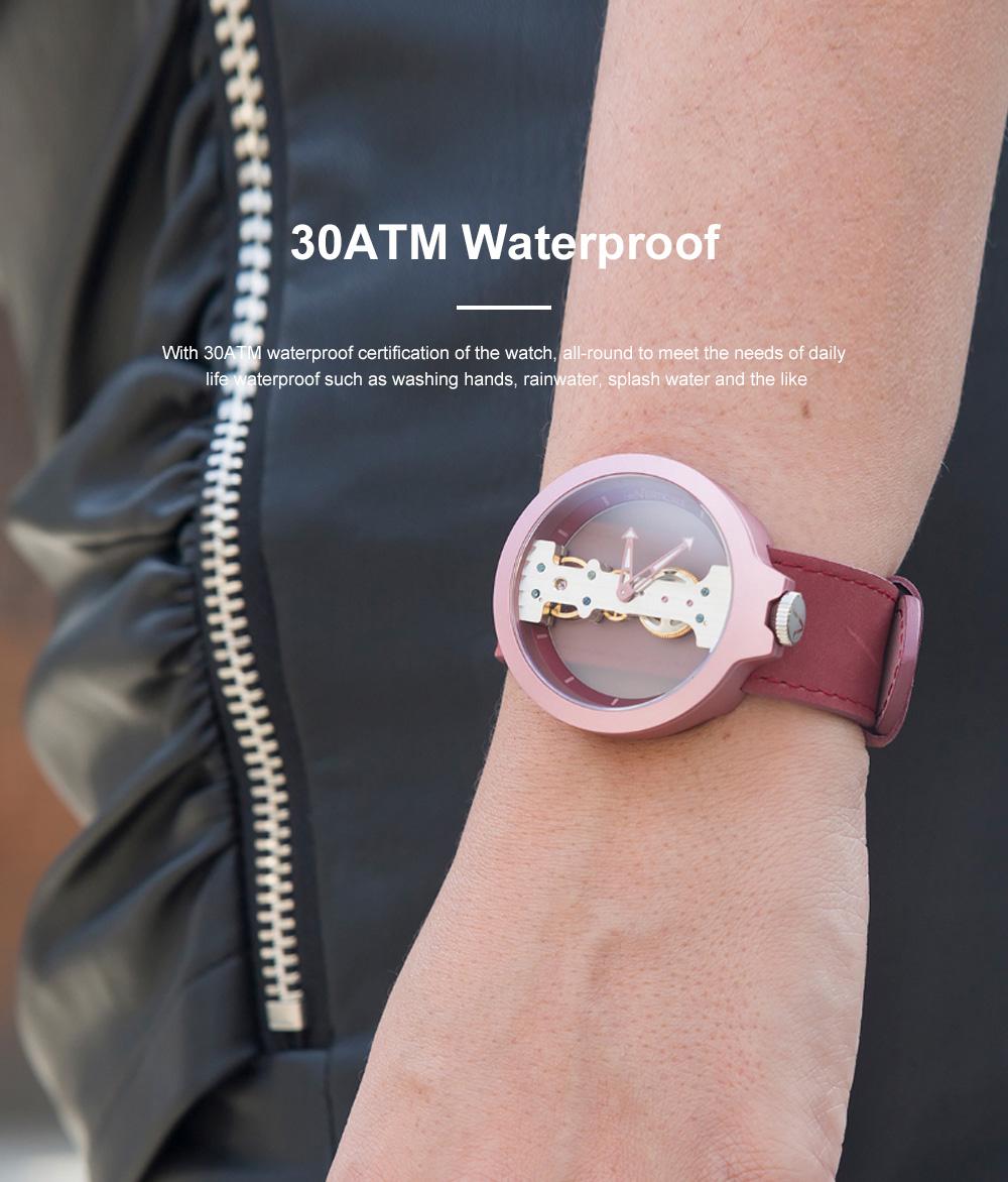 Lovers Mechanical Watch Waterproof Leisure Fashion Wristwatch for Men Women Couple Watch Gift Leather Luminous Needle Vertical Movement 4