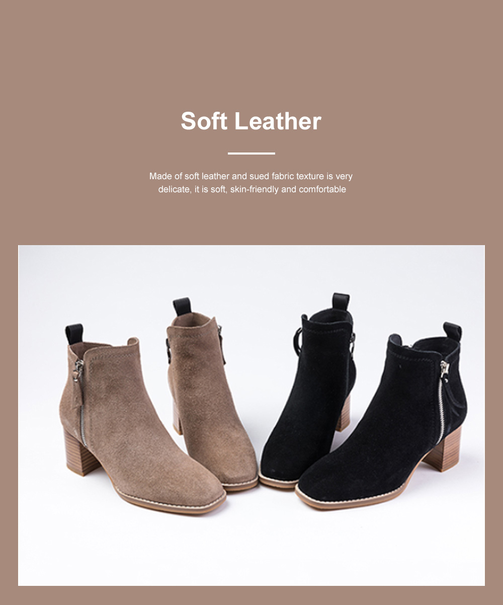 New Simple Fashion Retro Booties Zipper Square Head Thick Women's Boots 1