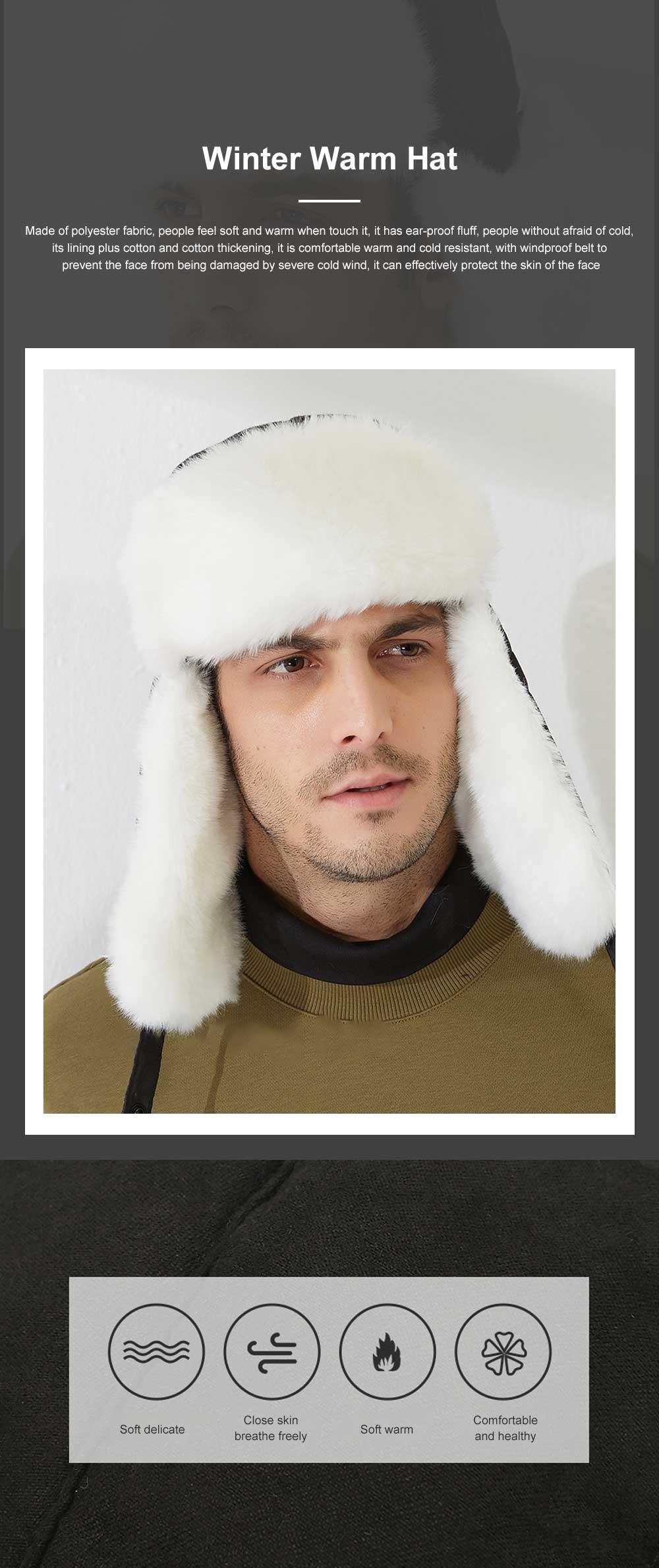 Winter Snow Hat Old Men Thickening Plus Velvet Warm Cap Plush Animal Cap Russian Style Faux Fur Hat With Ear Flaps Ski Earmuffs 0