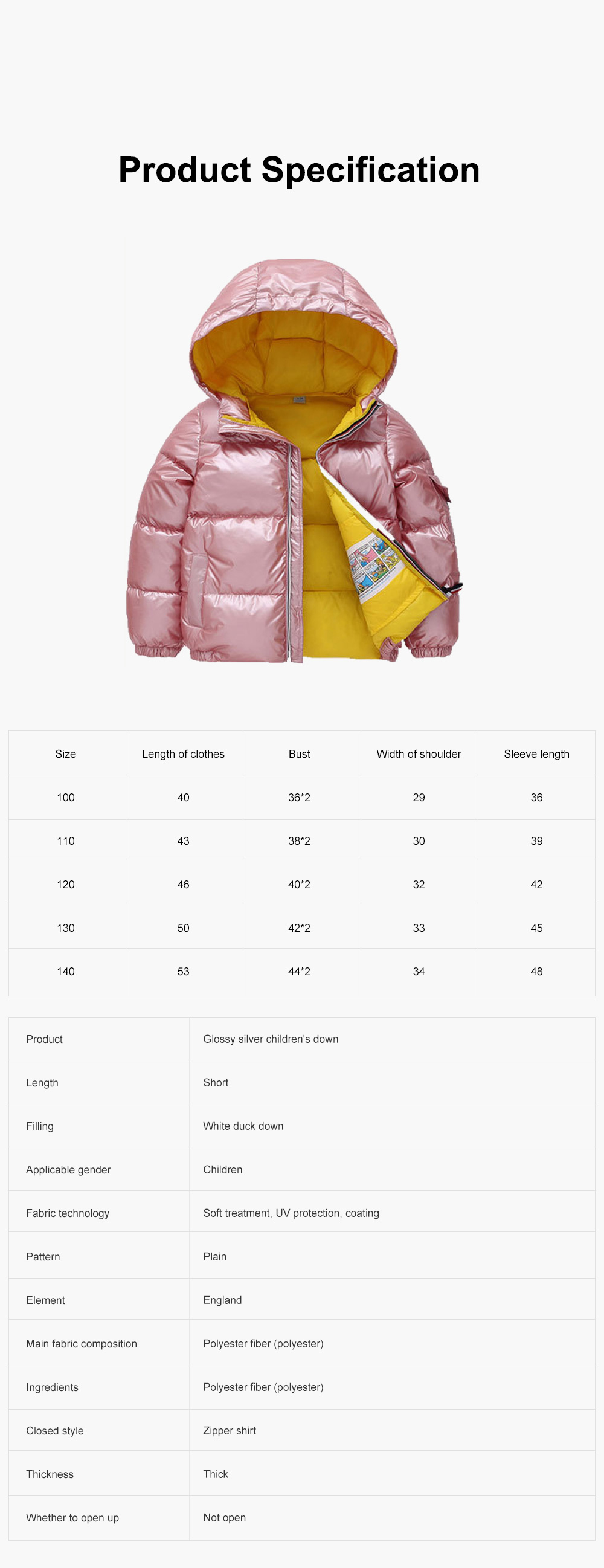 Glossy Silver Children's Down Coat Thickened Cotton Men & Women Children's Clothing Baby Down Cotton Space Bread Clothing 2019 6
