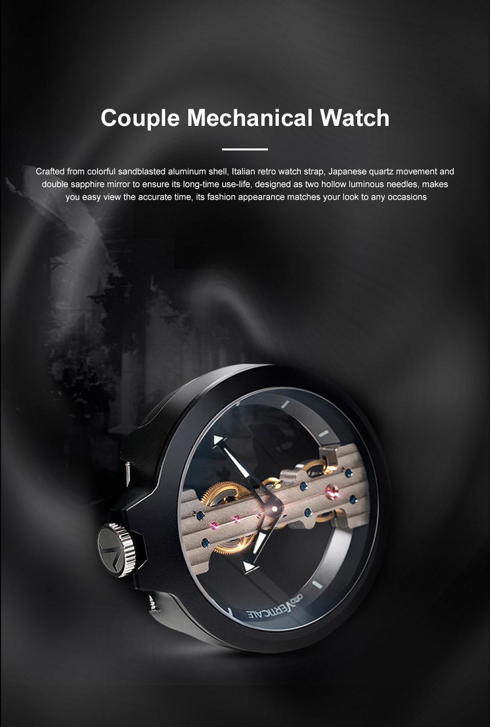 Lovers Mechanical Watch Waterproof Leisure Fashion Wristwatch for Men Women Couple Watch Gift Leather Luminous Needle Vertical Movement 0
