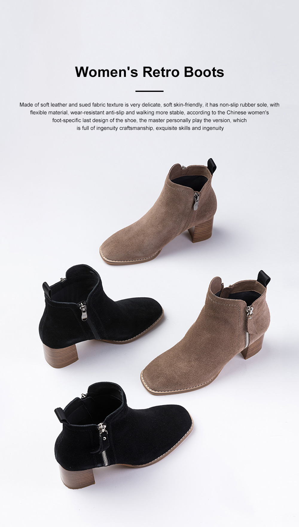 New Simple Fashion Retro Booties Zipper Square Head Thick Women's Boots 0