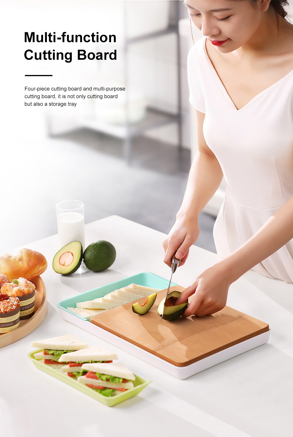 Multi-function Bamboo Cutting Board Baby Food Supplement Fruit Plastic Chopping Board Set Combination 2