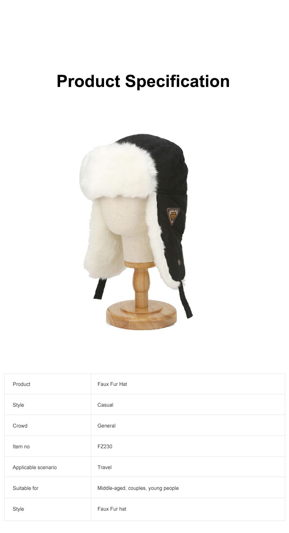 Winter Snow Hat Old Men Thickening Plus Velvet Warm Cap Plush Animal Cap Russian Style Faux Fur Hat With Ear Flaps Ski Earmuffs 6