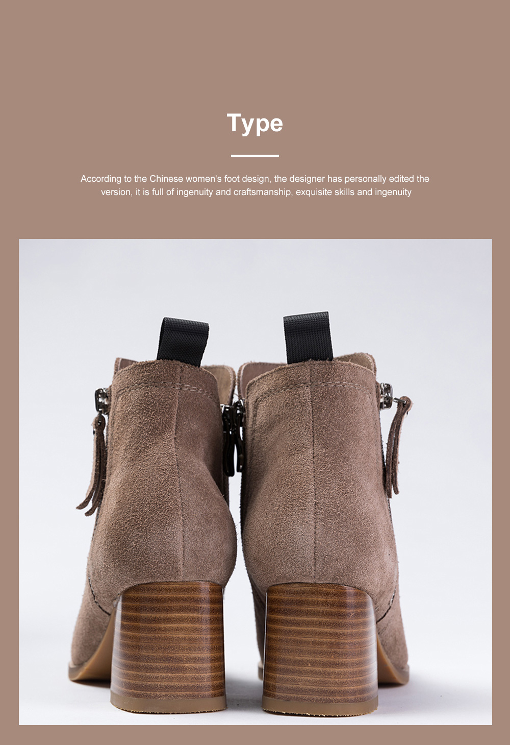 New Simple Fashion Retro Booties Zipper Square Head Thick Women's Boots 5
