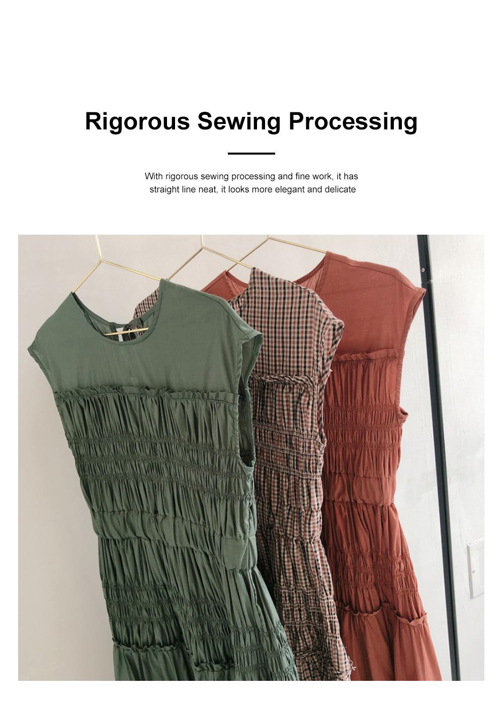 Female Vintage Dress Summer New Sleeveless Round Neck Plaid Women Elegant Thin Pleated Waist Casual Dress 3