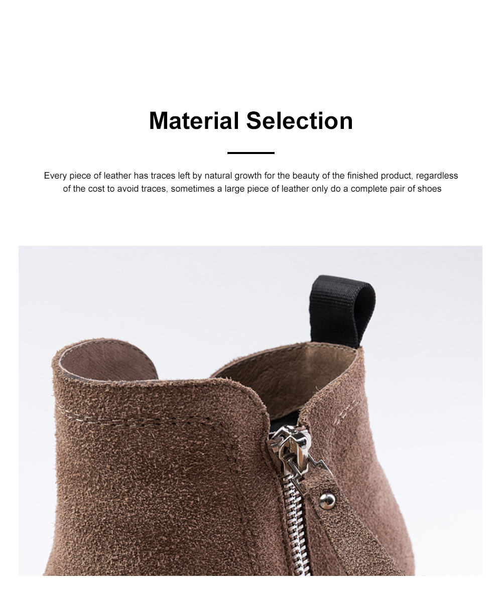 New Simple Fashion Retro Booties Zipper Square Head Thick Women's Boots 4