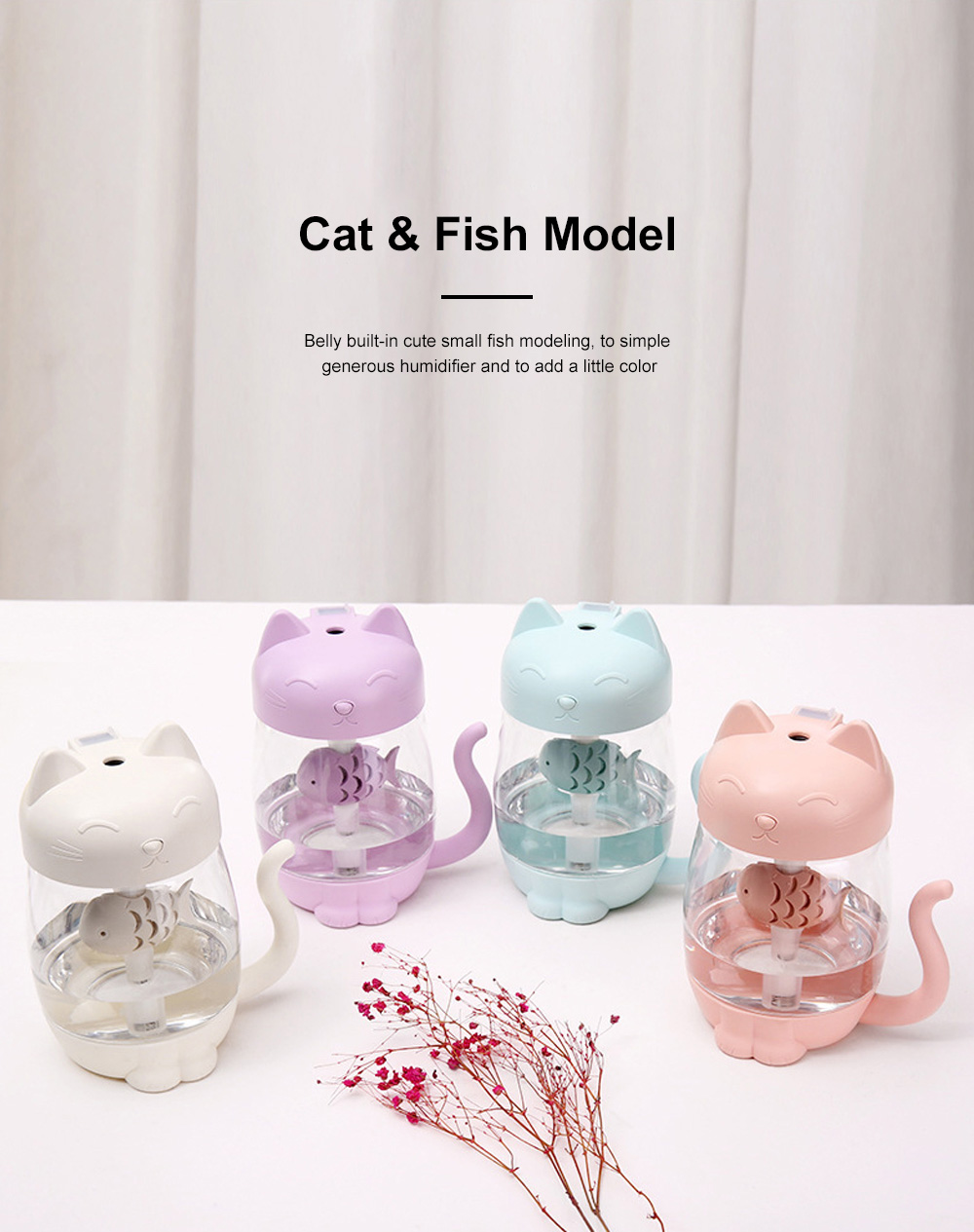 Lovely Cat Humidifier Portable Charging Creative Office Humidifier Three In One Usb Fan Desktop Atomizer Led Light Dry Protection 2